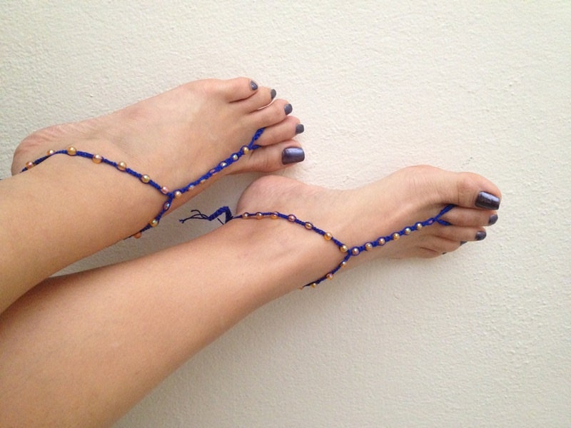 Blue Orange Beads Macrame Foot Jewelry Anklet By