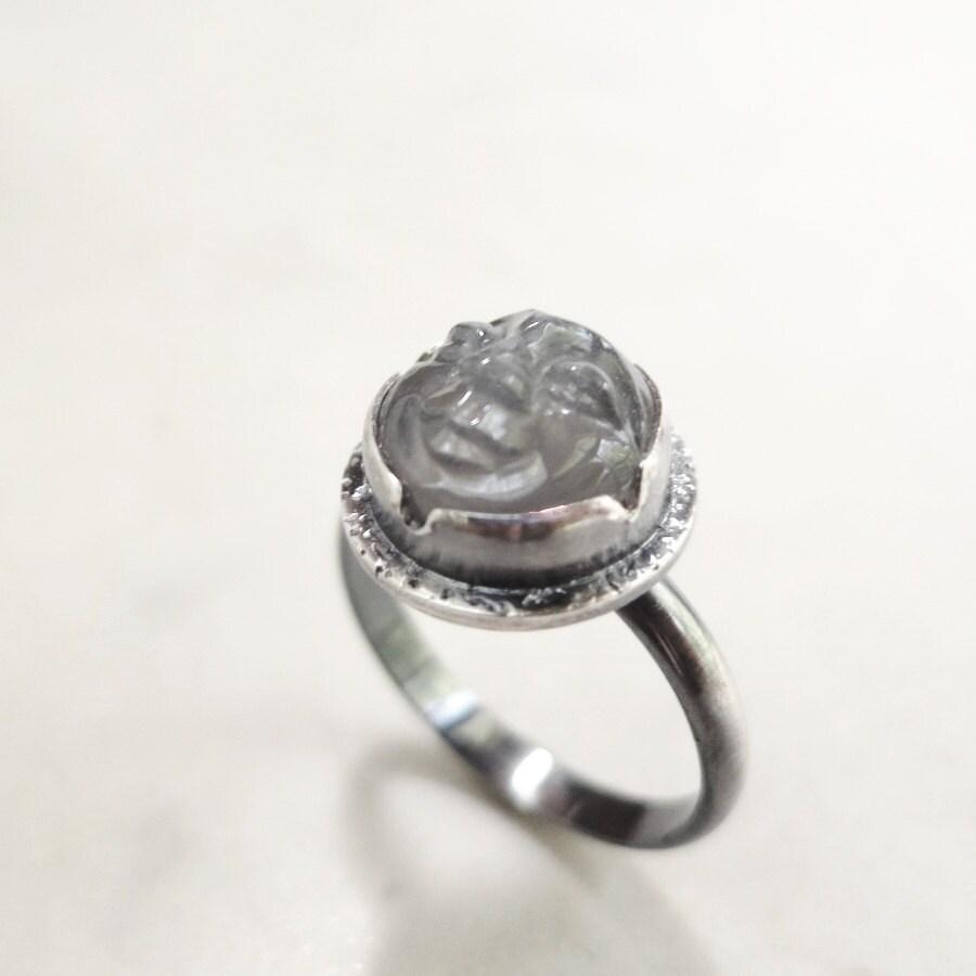items similar to moonstone ring gray gemstone sterling