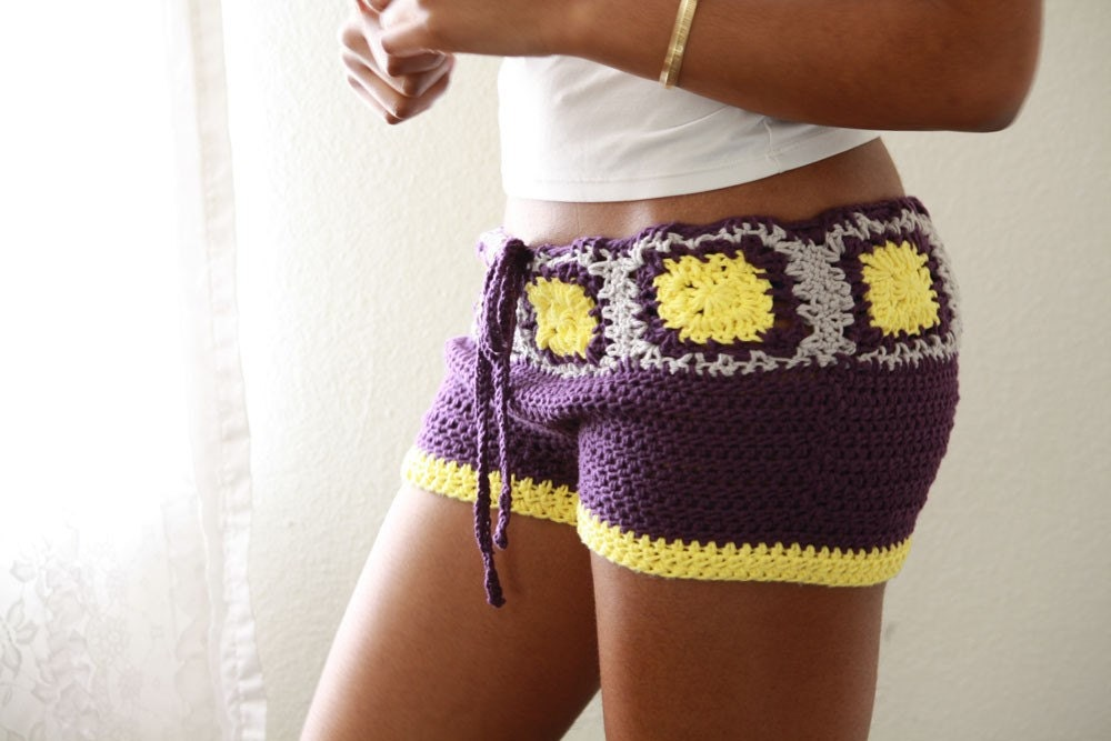 MADE TO ORDER Purple yellow and grey crochet shorts