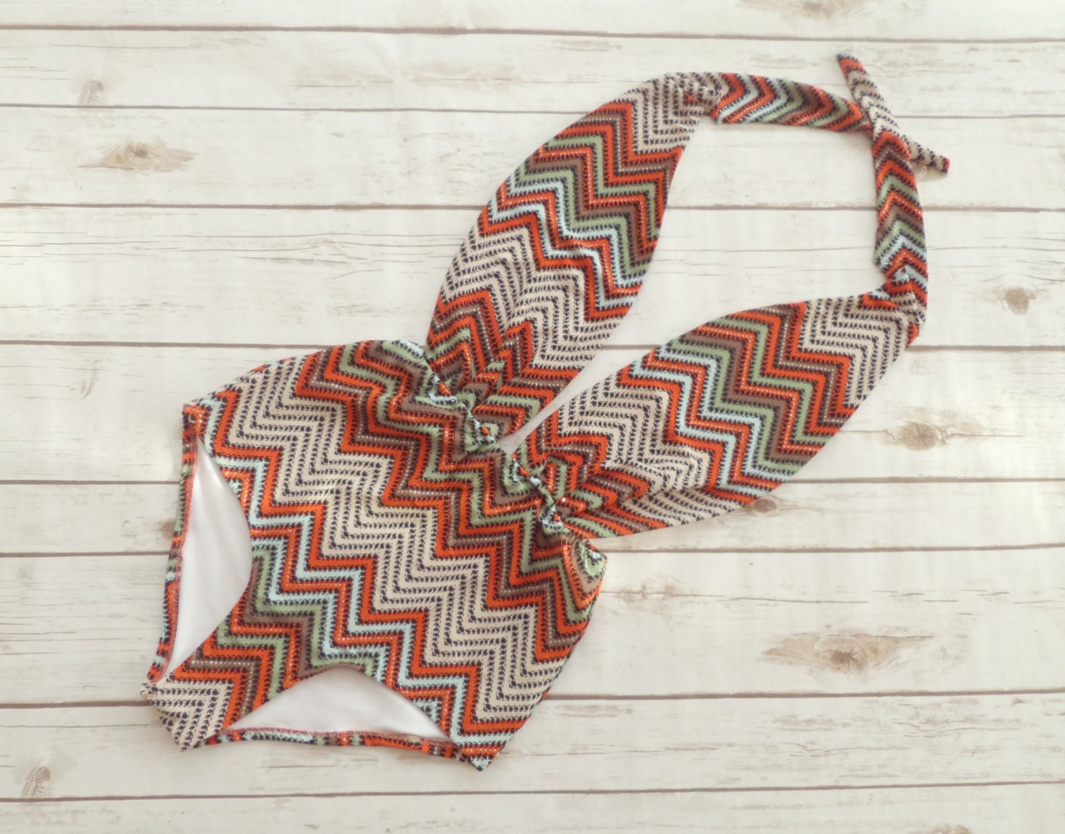 Swimsuit High Waisted Vintage Festival Style One Piece Retro Bathing Suit  Chevron Zigzag Print Swimwear In Earthy Tones and Glitter