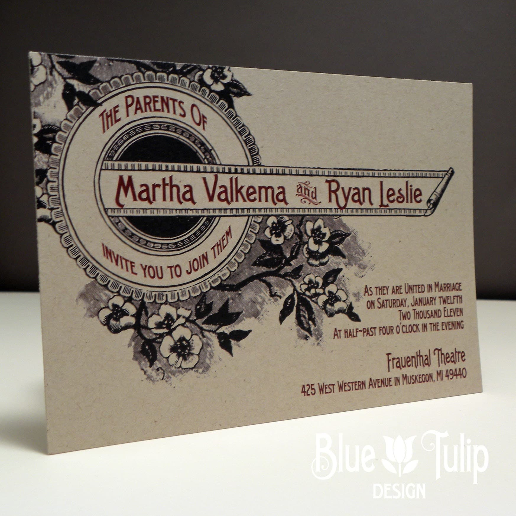 Vintage Floral Marquis Wedding Invitation on Recycled Cardstock