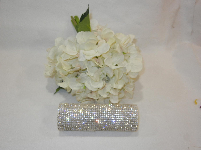 Large Crystal Rhinestone Bridal Bouquet Holder w Pearl Accents