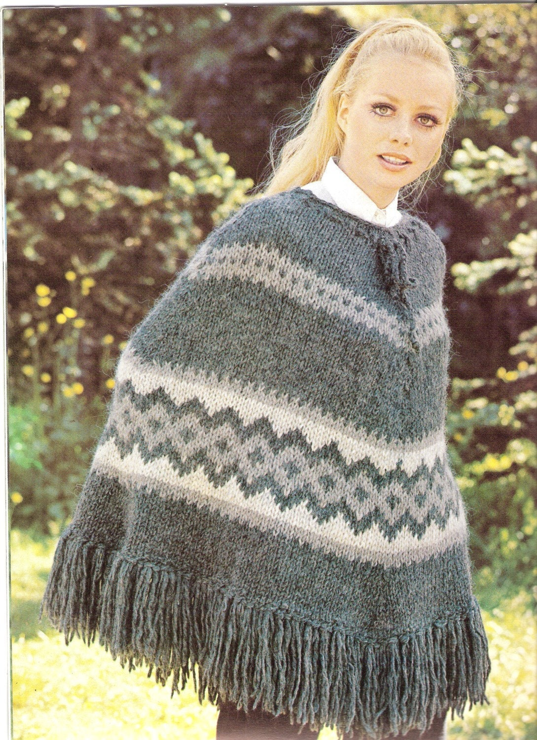 Pattern For Knitted Poncho : PONCHO Knit Poncho Pattern VATNAJOKULL by suerock on Etsy