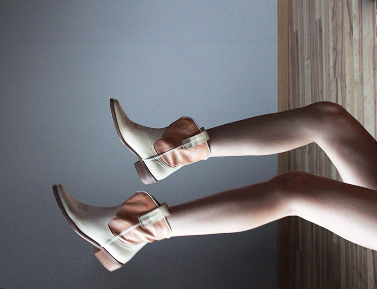Beige leather cowboy ankle booties - founditgreat
