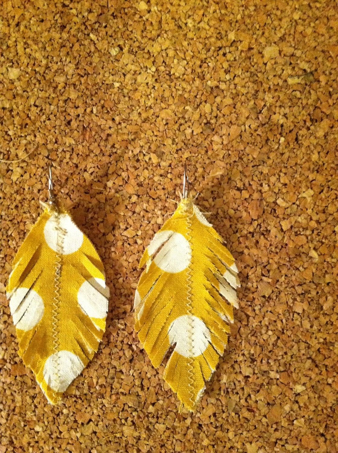 Vintage Fabric Feather Earrings Yellow Polka Dots