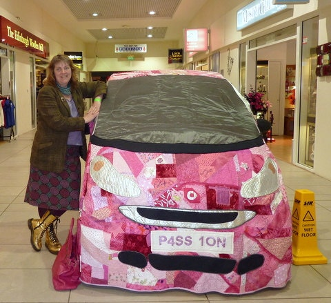 Pink Patchwork Car Cover for a SMART FOUR TWO car made with with fabrics donated by Celebrities