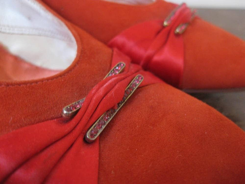 Incredible 40s 50s Red Suede, Satin & Rhinestone High Heel Shoes