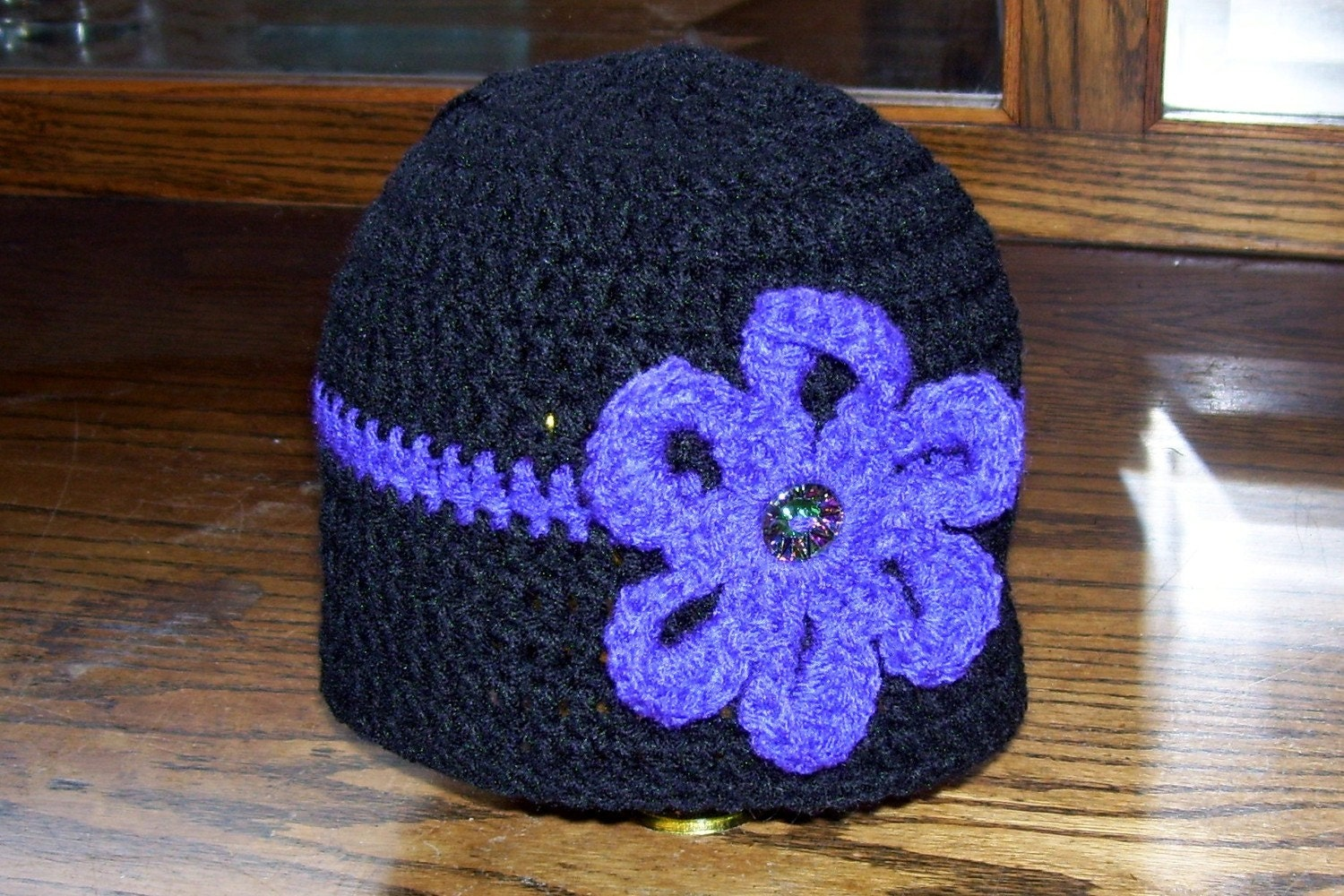 35% OFF with code FEATURED.....Black Crochet Hat w/ Purple Flower Pretty