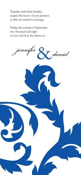 Wedding Invitation and RSVP Set - Royal Blue - Style 2