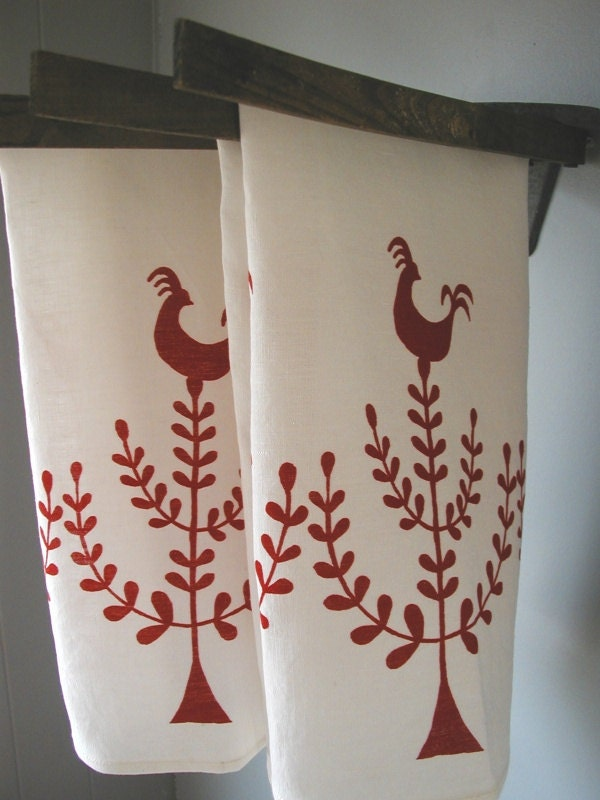 Scandinavian Roosters-Organic Linen Tea Towels- Hostess Gift- Set of Two Dish Towels - madderroot