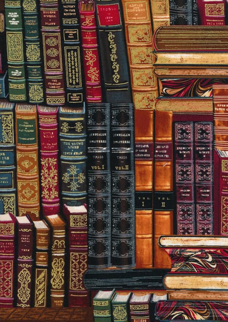 LIBRARY BOOKS Multi Book Bookshelf Novelty Cotton by zeetzeet