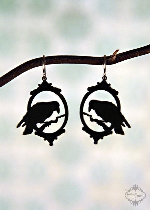 PREORDER - Lenore - Neo Victorian raven earrings in black stainless steel - Poe Nevermore