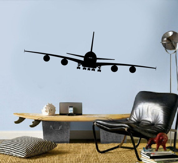 Airplane vinyl decals aviation wall decor by modernwalldecal for Airplane decoration