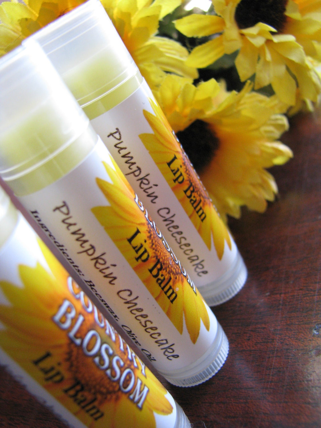 Pumpkin Cheesecake Flavored Natural Beeswax Lip Balm - Made with Olive Oil, Coconut Oil and Vitamin E Oil