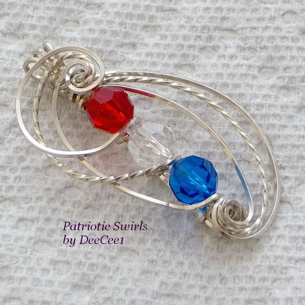 Patriotic  Swirls Wire Wrapped Pendant in Sterling Silver