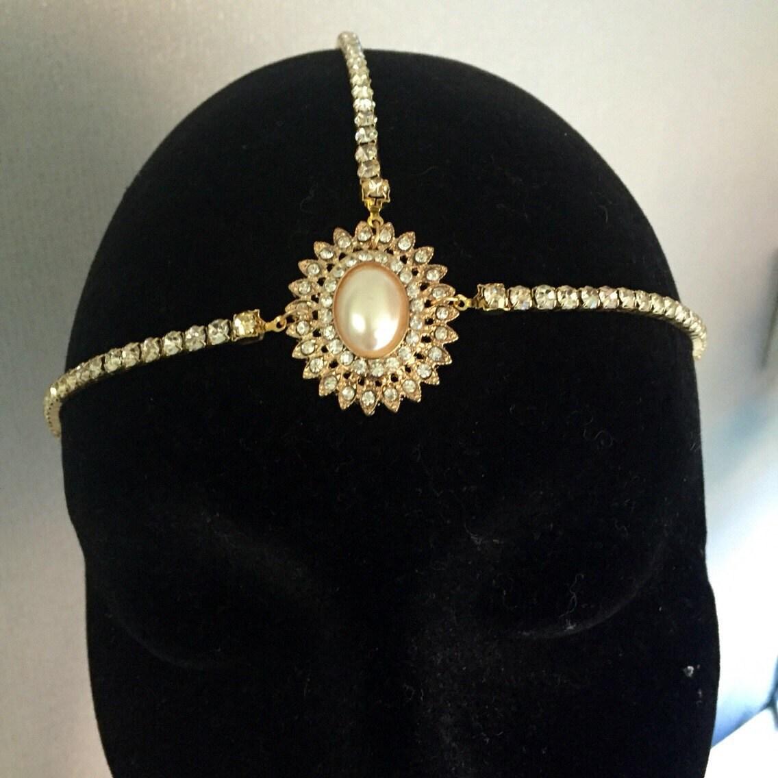 Gold 1920s head chain  Great Gatsby headpiece  hair chain  Art Deco headdress  Flapper headband  1920s dress