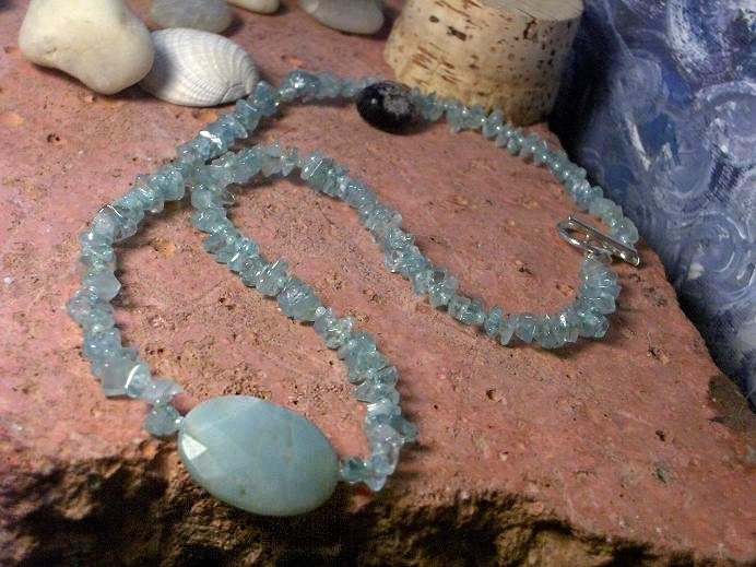 Cool Water Faceted Amazonite and Sea Glass Necklace