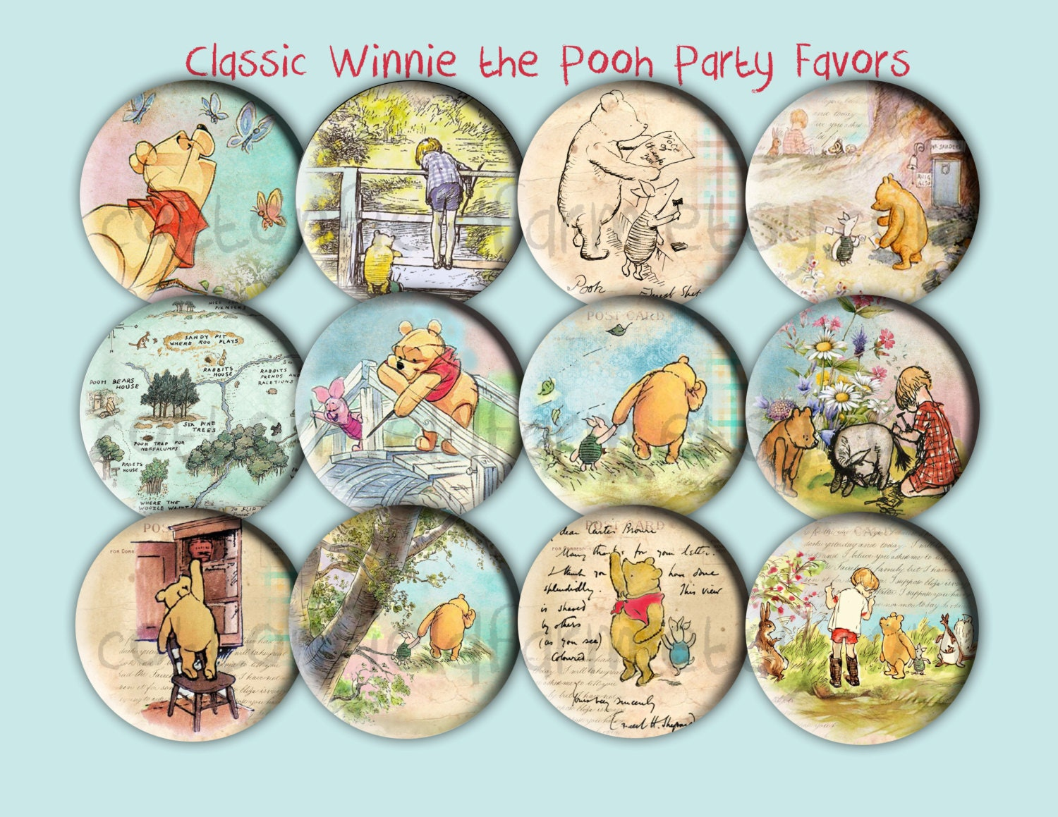 baby shower favors classic winnie the pooh by cottonfieldfarm