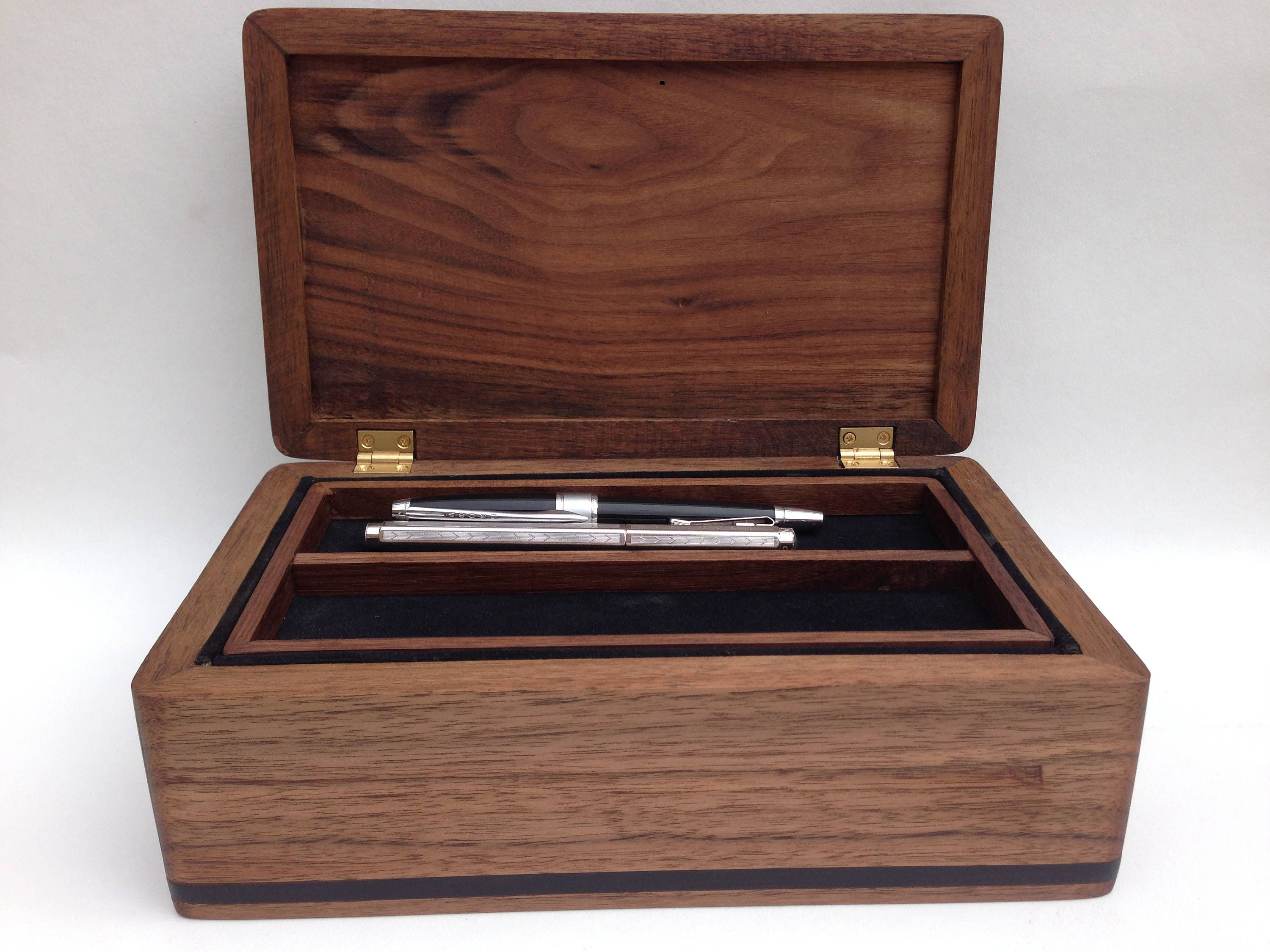 Pellow Handmade solid wood modern box Walnut and ironwood valet or jewellery box but you can customise it in wood size and interior.
