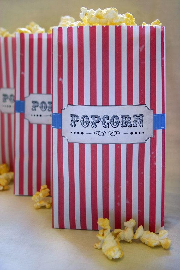 Vintage Circus Kids Party Popcorn Bag - DIY PRINTABLE FILE