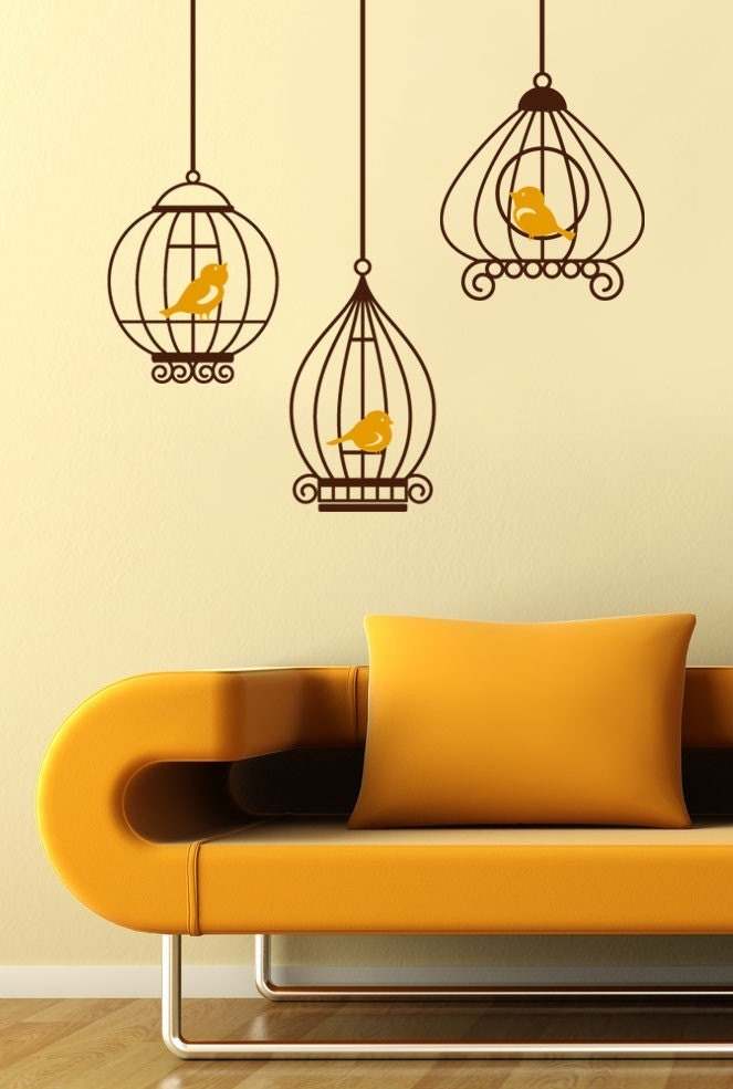 Birds in Birdcage - Vinyl Wall Decals