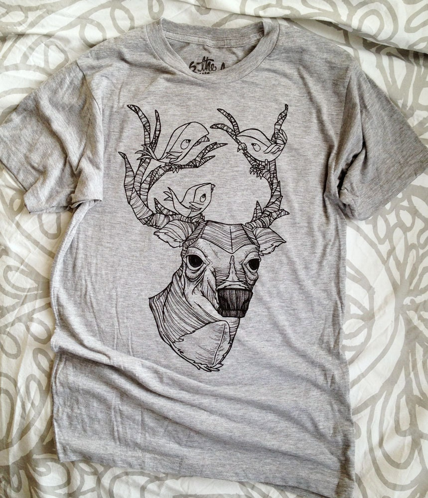 Deer & Birds T Shirt // Heather Grey Tri-Blend