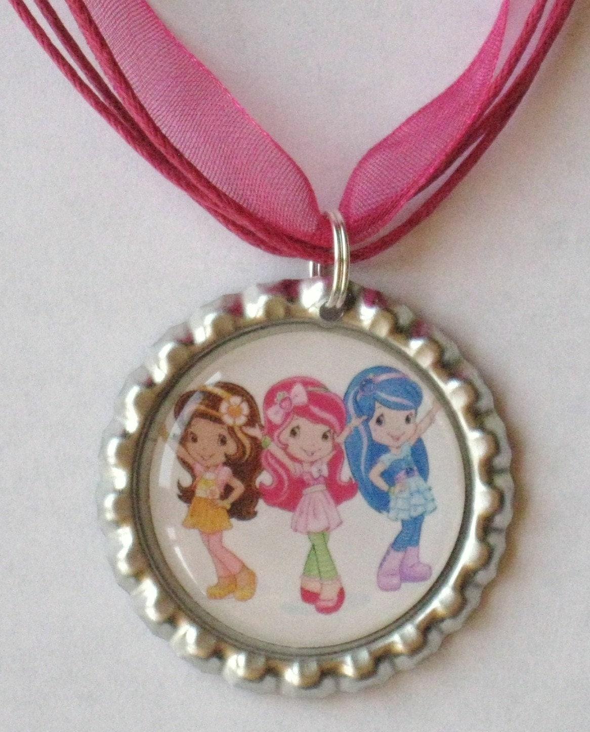 Boutique bottlecap necklace strawberry shortcake by for Strawberry shortcake necklace jewelry