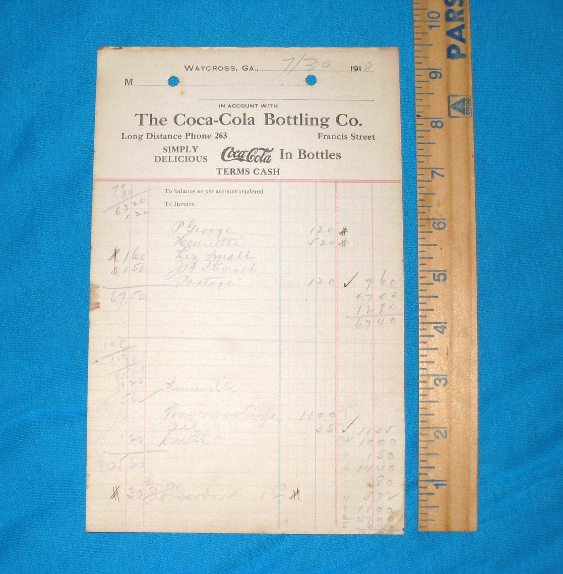 1918 Coca Cola Bottling Co Order Form By Cookiegrandma60