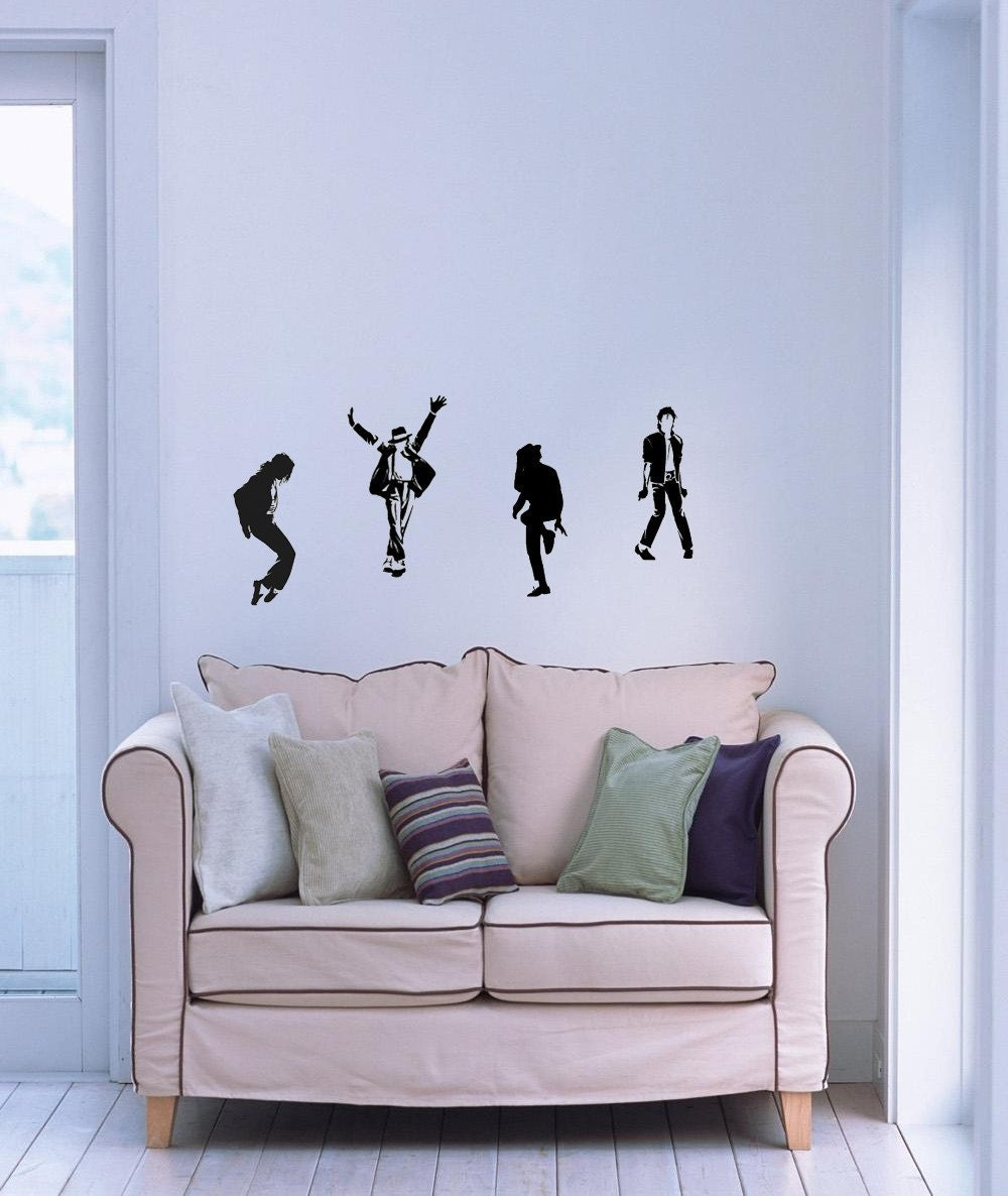 Set 4pcs Dancing Michael Jackson Wall Art Decal Vinyl Sticker Home Decor Wallpaper