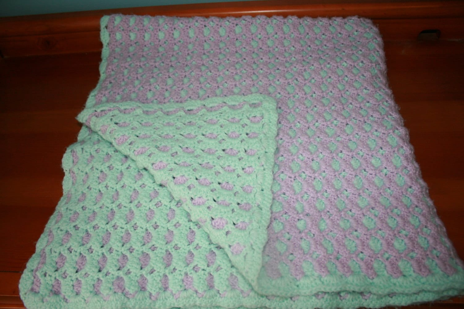 Reversible crochet baby afghan Purple & Green Large by ...