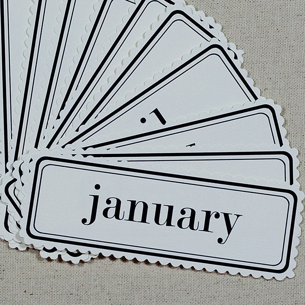 Rectangular Month Tags