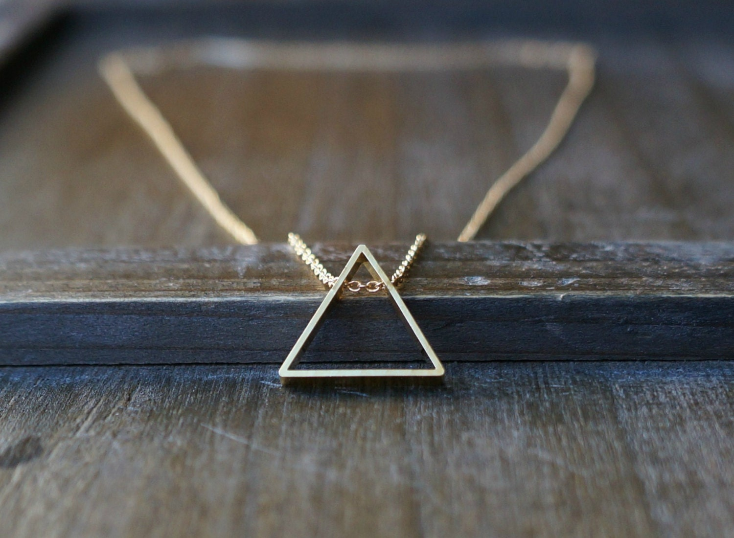 Triangle Necklace / Geometric Pendant on a Gold Filled Chain - lefaire