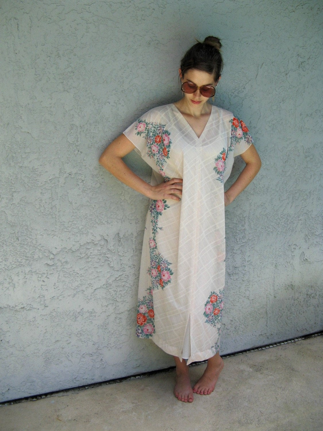 Vintage 70s Hippie Flower Power Sheer White MAXI MUMU dress with Dramatic Angel Wing Sleeves