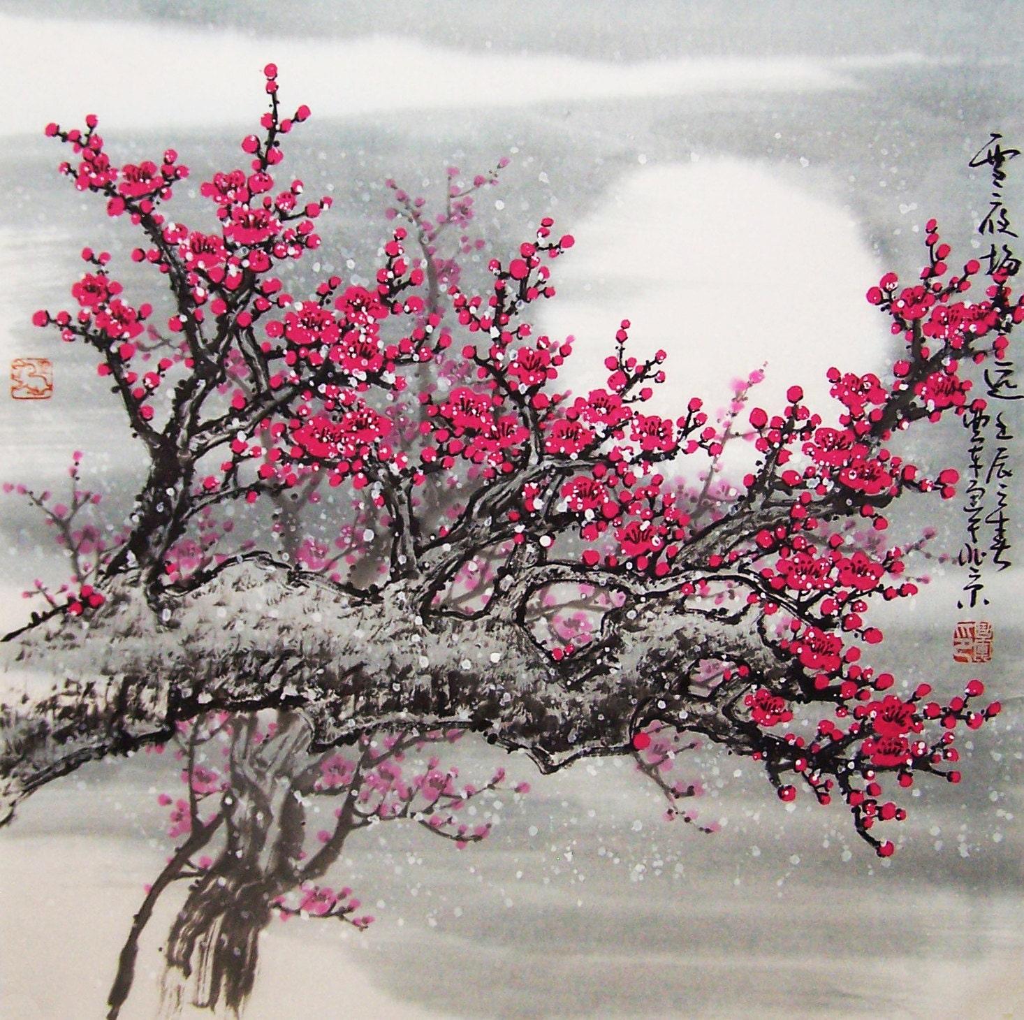 Original painting oriental art chinese art lovely cherry for Chinese mural art