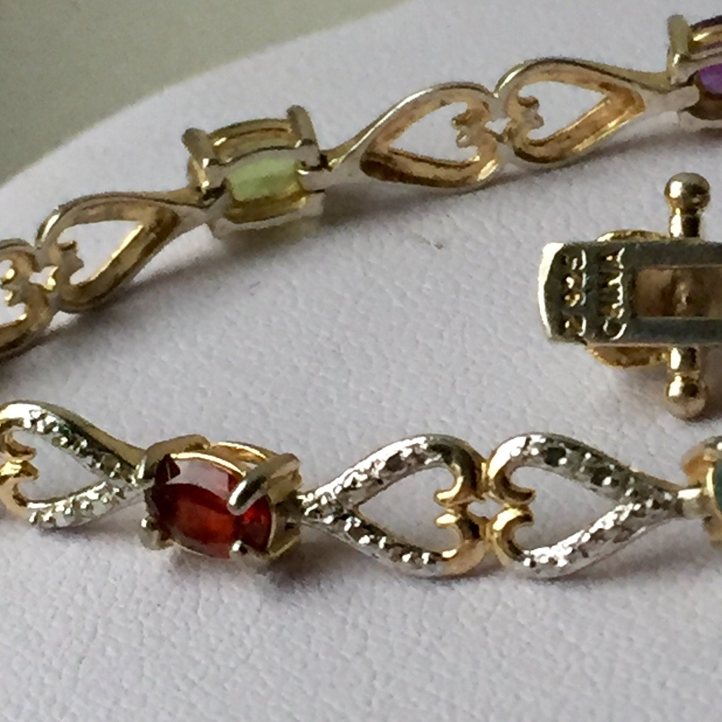 Vintage 925 Sterling Silver gold plate Diamond Garnet Citrine Peridot Aquamarine Amethyst hearts Tennis link chain bracelet 7g inches