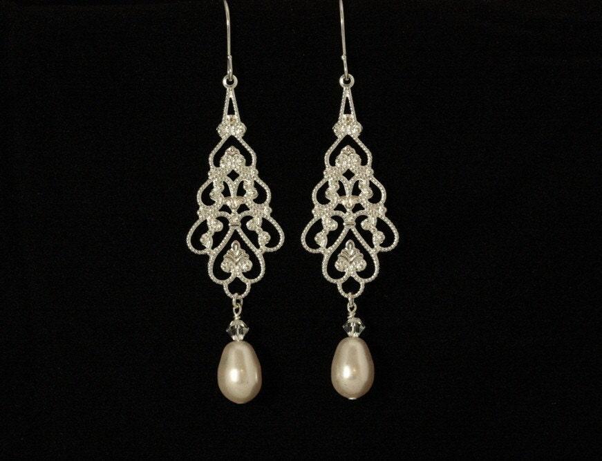 Parfait Bridal Earrings -- Silver Filligree and Swarovski Crystal Teardrop Pearls