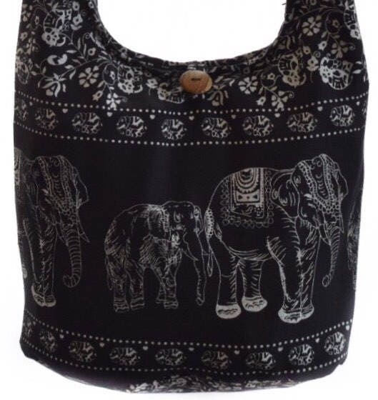 Hippy bag  Elephant screen print  Hobo crossbody bag  Hippie hobo bag  Medium