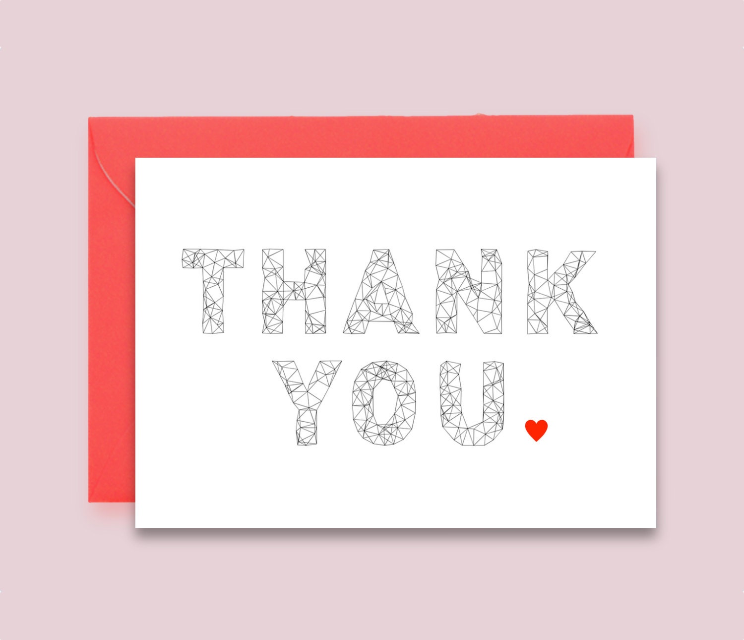 Thank You Card Printable Instant Download Heart Modern Geometric Graphic Wedding Birthday Events