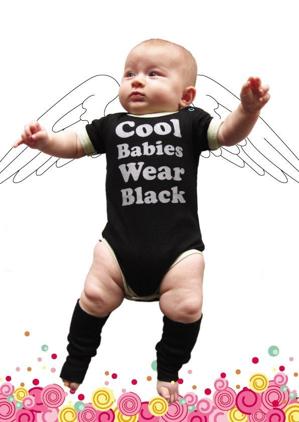 COOL BABIES WEAR BLACK baby bodysuit 3-6M grey on black