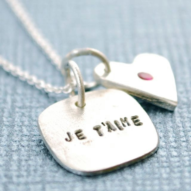 """JE T'AIME necklace, French """"I love you"""" pendant with HEART and Ruby, ecofriendly silver.  Handcrafted by Chocolate and Steel"""