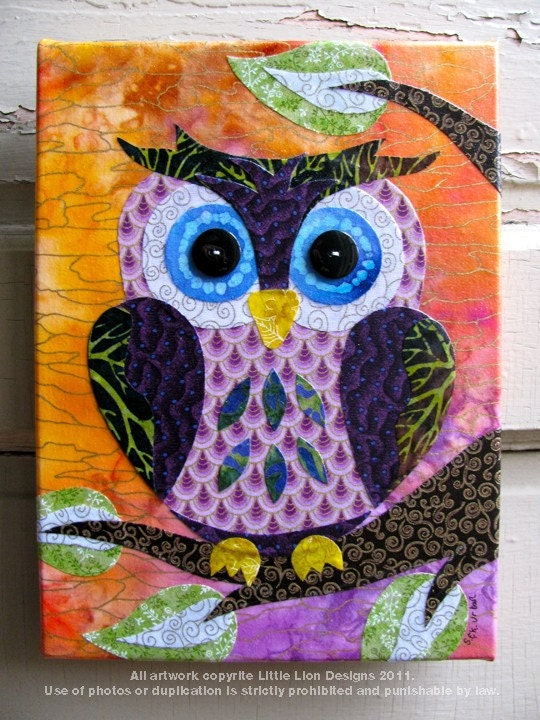Sunset Owl - Fabric Collage Wall Art - No Frame Needed