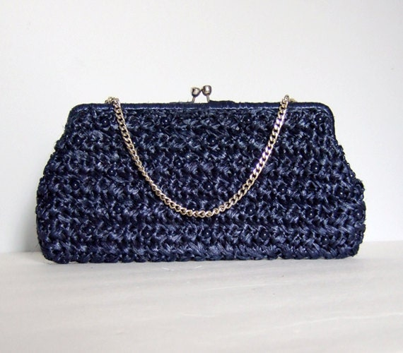raffia purse navy blue clutch beaded bag woven by