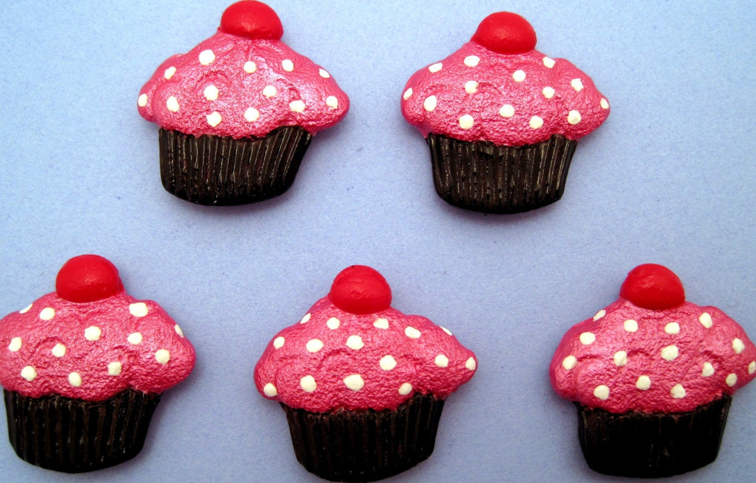 Hot Pink and Black Sprinkle Cupcakes Polymer Clay Magnet Set