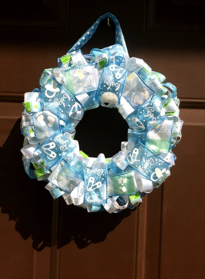 Items similar to baby wreath it 39 s a boy hospital door for Baby boy hospital door decoration