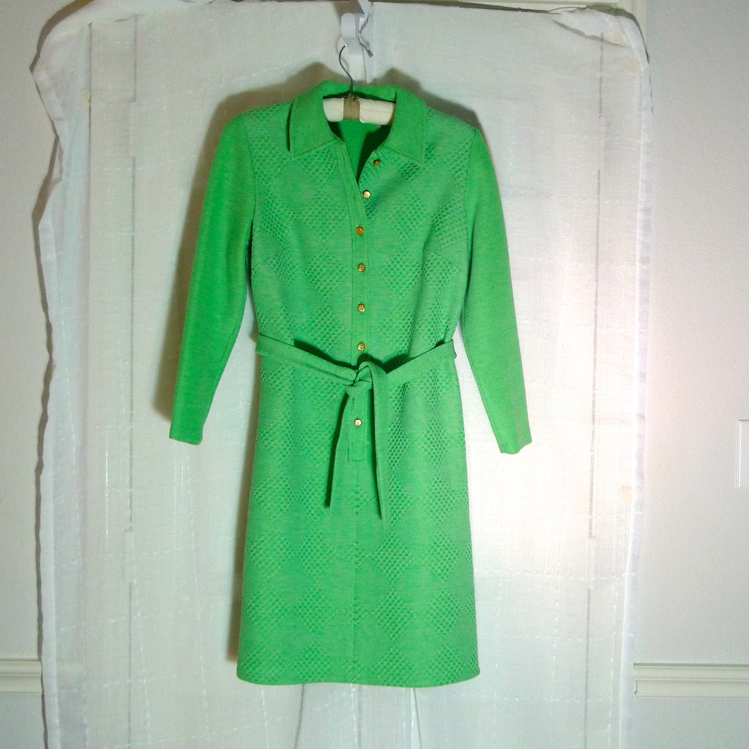 lime green polo t shirt dress button front by plattermatter