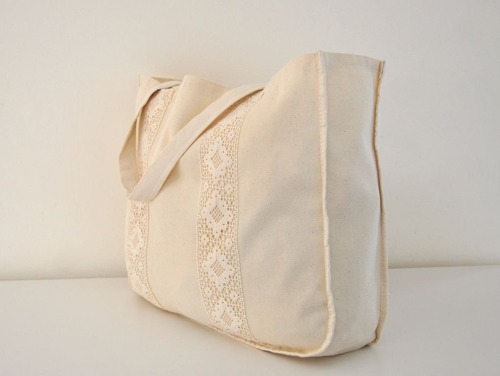 Handmade Natural Organic Cotton Eco Friendly Big Shopping Tote Bag with Lace