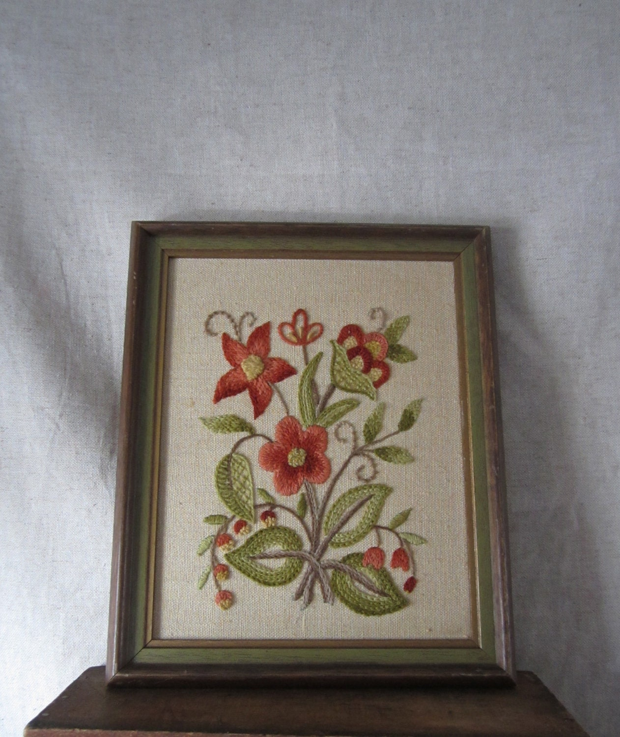 Framed Embroidery Floral Art Still Life Flowes By
