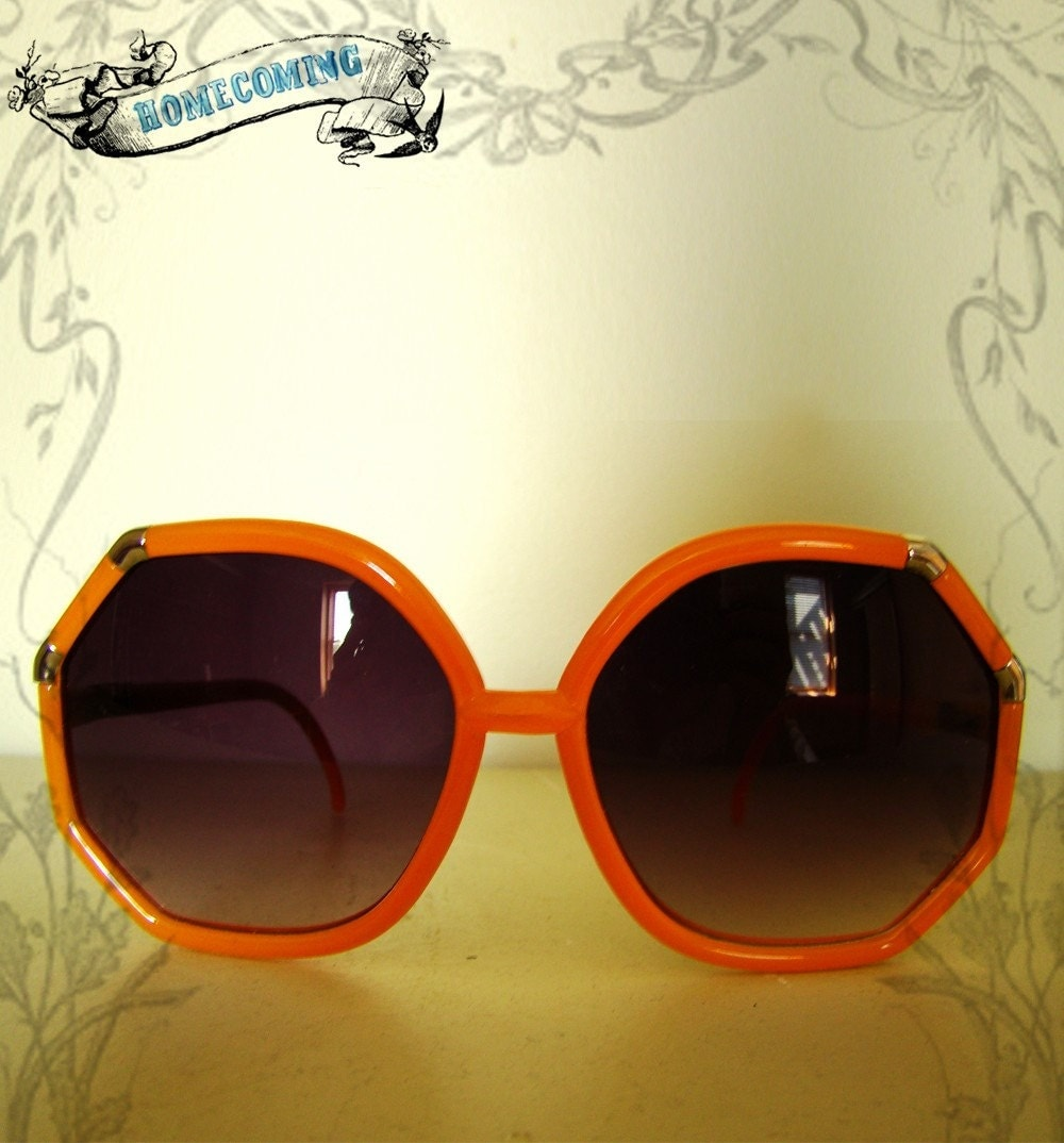 Vintage Orange Oversized Sunglasses