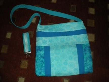 Spring Aqua Blue Tote Bag and Key Fob - by HAndJStarCreations by EtsyForCharity on Etsy