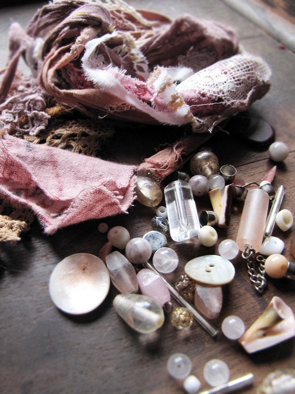 DIY craft kit - antique and vintage laces, textiles, beads and buttons - powdered roses